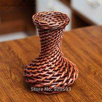 tissage de vase achat en gros de-Haute qualité tissé à la main panier PE stockage rotin vase fleur artificielle vase fleurs en soie vase décoration à la maison cadeau d'anniversaire