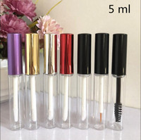 Wholesale empty tube mascara - 50 pcs Free Shipping 5 ml Transparent Plastic lip gloss Tube Bottles Eye Liner Mascara Cosmetic Empty Packaging Containers