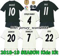 Wholesale black shirts boys - 18 19 kids Real madrid Jersey Home away soccer Kits Adult RONALDO ASENSIO MODRIC BALE RAMOS ISCO NAVAS KROOS BENZEMA child Football Shirt