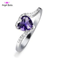 Wholesale heart shape ring ladies - Hot -sale 2018Purple Heart-shaped Women Wedding Ring Lady Gift Jewelry Size 6 7 8 9 Party Jewellery Simulated Zircon Silver Ring