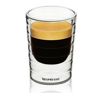 ingrosso soffia la tazza di vetro-Bicchieri in vetro Caneca in vetro soffiato a mano a doppia parete di proteine Nespresso tazza di caffè espresso tazza di caffè vetro termico 85ml