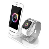 telefone base iphone venda por atacado-2 em 1 mesa Estação de carregamento para Apple Watch stand suporte de telefone suporte de carga suporte para iPhone X / 8 base