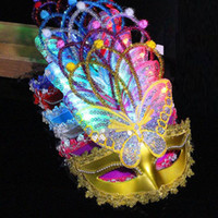 Wholesale child butterfly masquerade mask - LED Flashing Butterfly Mask Children Adults Venice Princess Masquerade Glowing Mask Party Dress Decoration