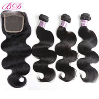 Wholesale Human Hair Extensions Brand - BD Clearance Sale Brazilian Peruvian Malaysian Indian Body Wave Top Lace Closure Human Hair Extensions Brands 4pcs Packs Three Parts