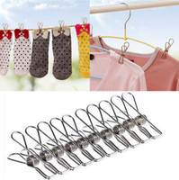 Wholesale lingerie line - 5.5*2.5cm Clothes Pegs Stainless Steel Washing Line Hanger Photos Clip Clamp Spring Clothes Clips Stainless Steel Pegs EEA345