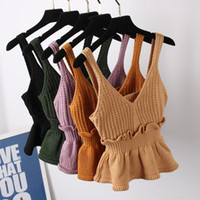 cami xs groihandel-Nette reizvolle dehnbare Knit-V-Ausschnitt-Ernte Cami Tops Sommer-Art-Mode-Ebenen-Frauen-reizvolle Isolationsschlauchbügel-Unterhemd-Behälter-Hemd Heißer Verkauf