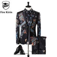 Wholesale Vintage Mens Blazers - Fire Kirin Mens Suits Wedding Groom Luxury Brand Chinese Dragon Vintage Velvet Suit Classic Men's Suit Prom Party Blazer Q304