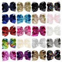 Wholesale large bows for hair - 8 Inch Rhinestone Hair Bow Jojo Bows With Clip For School Baby Children Large Sequin Bow 20 Style For valentines