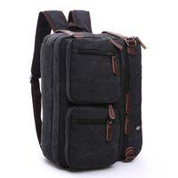 38403610e2fd8 Männer Business-Rucksack Vintage-Leder Leinwand Rucksack Schultasche Männer  Reisetaschen große Kapazität Reise Laptop-Tasche