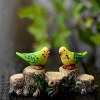 ingrosso ornamento da giardino di uccelli-Pappagallo decorativo DIY Bird Doll Ornament Moss Micro Landscape Decoration Fairy Garden Terrarium Accessori Materiale Cartone animato Giocattolo per bambini