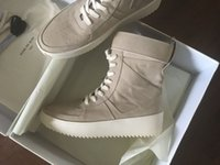 Wholesale Leather Nylon Heels - 2018 FEAR OF GOD Military High-Top Outdoor Boots Sneakers Black Suede Gum Grey Nubuck Boot Fog Jerry Lorenzo Kanye black Nylon running shoes
