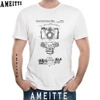 dessins de mode t-shirts achat en gros de-Dessus de brevet à manches courtes pour appareil photo New Summer Fashion Hommes noir Imprimer T-shirt drôle Blanc Tees Style Vintage Hommes Casual Tops