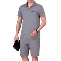 Wholesale 4xl tall - Short Sweat Suits Men Two Piece Short Sets T Shirt Plus Size 5XL Big And Tall Mens Casual Pants Summer Shorts For Men #8209 4 Colors Men Set