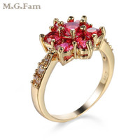 Wholesale gp party - (2147R) MGFam Red Flower Rings For Women Romantic Style 18k GP Gold color Hot jewelry AAA+ Cubic Zircon
