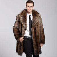 abrigo de solapa de piel para hombre al por mayor-Chaqueta para hombre de piel sintética de invierno de piel sintética para hombres al aire libre Chaqueta larga para abrigo de piel de invierno