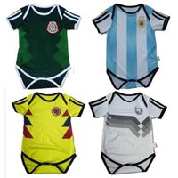 Wholesale grey baby jumpsuit - kids 17 18 spain Baby football Jerseys Cotton Short Sleeved Jumpsuit Baby Triangle Climb Clothes Loveclily 2018 baby's soccer jerseys