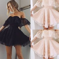 Wholesale Out Shoulders Wedding Dress - New Women Formal Lace Dress Summer Prom Off Shoulder Party Wedding Gown Short Sleeve Short Mini Dresses Solid Black Pink