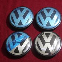 ingrosso cappelli blu centrali-2018 Autoadesivo dell'automobile VW Passat Blu Logo Nero Logo 56mm 65mm 70mm 76mm Dimensione Car Wheel Centro Cap DHL LIBERA il trasporto