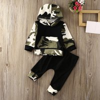 Wholesale baby girl camo - Baby Boy Mini Clothes Baby Clothing Sets Baby Boys Camouflage Camo Hoodie Tops Long Pants 2Pcs Outfits Set Clothes 2018 Autumn style