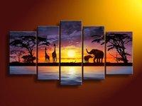 filler boyama tuvali toptan satış-Toptan-el-boyalı duvar sanatı Afrika filler geyik Ev Dekorasyon Modern Peyzaj Yağlıboya 5 adet / takım mixorde Çerçeveli