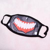 anime sahne aksesuarları toptan satış-Yeni Anime Tokyo Ghoul Kaneki Ken Maskesi Maskesi Pamuk Prop Cosplay Aksesuar Hayalet Zombi Yarım Yüz