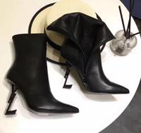 bot topuklar elbise toptan satış-En Kaliteli Sivri Burun Bayan Deri Ayak Bileği Çizmeler Siyah Thrill Mektubu Topuklar Pompalar Kadın Yüksek topuklu Elbise Düğün Gelin Ayakkabıları