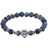 ingrosso braccialetto del gufo dell'annata-KLEEDER Trendy Vintage pietra lavica braccialetto per unisex Tiger Lion gufo leopardo bracciali braccialetti gioielli regalo per uomo e donna