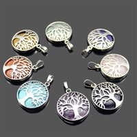 New Natural Stone Pendant Gemstone Árvore da vida Charms Pendant DIY Necklace For Women Men Jewelry