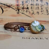 porzellan perlen blumen großhandel-Handgemachte Handarbeit Blume Porzellan Armband mit Metall Pinienkernen Porzellan Perle Charme Seil Kette Armbänder jeden Tag Schmuck für Frauen