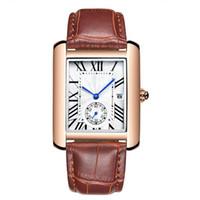 sehen sie die marke schön großhandel-Rechteck Quadrat Herrenuhren Modemarke Kalender Schöne Armbanduhren Quarz Lederband Business Sport Herrenuhr