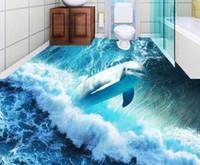 pintura dimensional parede 3d venda por atacado-Dolphin oceano azulejos tridimensionais pintura papéis de parede decoração de casa 3d
