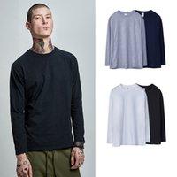 neue art hemdfarbe großhandel-Modische Herren New Straight-Typ High Street Tide Marke Solid Color Base Freizeit-Runde Kragen Set Outdoor-Langarm-T-Shirt