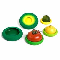 Wholesale fresh fruits vegetables - 4pcs Set Farberware Fruit And Vegetable Fresh Protectors Reusable Silicone Food Savers Storage Containers Cover Can Provide FBA ship HH7-936