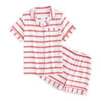 короткая полосатая пижама оптовых-Сексуальная Полосатый Розовый Короткие Пижамы Устанавливает Женщины Пижамы Лето 100% Марля Хлопок С Коротким Рукавом Повседневная Корейский Пижамы Де Лас Mujeres
