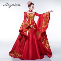 4116cbd89db Роскошный Красный Хвост Вечернее Платье Элегантный Показ Моды Вышивка  Золото Феникс Cheongsam Платья Традиционный Китайский Свадебное Платье