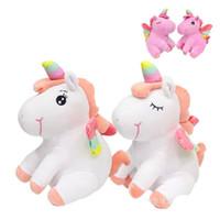 bebekleri hissetmek toptan satış-20 cm Oturan Sevimli Peluş Unicorn Bebek Karikatür Animasyon Modeli Çocuklar Için dolması Pony Yastık Oyuncak Parti Iyilik Pürüzsüz Duygu 10 5rb Ww
