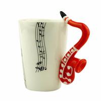 ingrosso porcellana di musica doni-Novità 10 Stili Musica Nota Chitarra / Violino / Sassofono Tazza in ceramica Personalità Succo di latte Tazza di limone Caffè Tazza di tè Bicchieri regalo