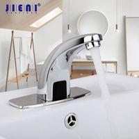 banyo muslukları krom toptan satış-Otomatik Eller Dokunmatik Sensör Musluklar Pirinç Krom Cilalı Banyo Havzası Musluk Torneira Lavabo Bataryaları Mikserler Musluklar Su Mikser