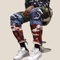 Wholesale camouflage trousers for women - Designer Camouflage Cargo Pants For Men Color-Block Patchwork Casual Pants Women Couples Hip Hop Camo Trousers Sports Bottoms BFSG1211