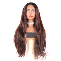Wholesale chocolate wigs resale online - Hot Beautiful Long Ombre Chocolate Brown Black Root Lace Front Wig Synthetic Natural Wave Long Wig Density Glueless Lace Wigs for Women