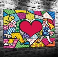 coração pintura a óleo venda por atacado-Coração grande, Pintura em tela Sala de estar Decoração de casa Modern Mural Art Oil Painting