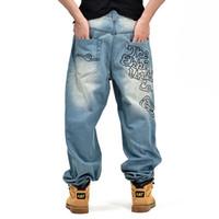 mens hip hop baggy jeans toptan satış-2018 Yeni Erkek Baggy Jeans Erkekler Geniş Bacak Denim Pantolon Hip Hop Moda Nakış Kaykaycı Kot Ücretsiz Kargo