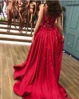 vestido volante rojo de muru zuhair al por mayor-Vestido de noche Vestido largo estampado Dazzing Red con cuentas Sexy Dazzling Embrio Ruffle Scoop Funda Zuhair murad Kim kardashianopeb