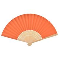 ingrosso costole di bambù-Logo personalizzato di alta qualità Bomboniere Regalo Ventagli pieghevoli di carta fai da te Ventaglio artigianale con decorazioni in bambù