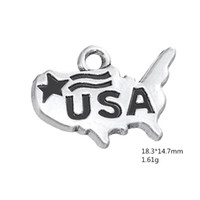 Wholesale usa patriotic bracelet resale online - Patriotic USA Map Proud of American Pendant July th Independence Day Bracelet Charms