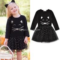 yeni moda net elbiseler toptan satış-2018 yeni bebek Sequins kedi yüz elbise pamuk Bahar Sonbahar Net iplik kitty Prenses elbiseler moda Çocuk Giyim Butik kız elbise C3419