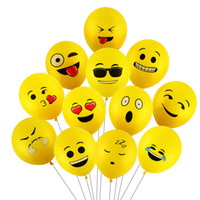 ingrosso palloni di lattice giallo-100PCs 12 pollici Emoji Balloons Faccina espressione gialla palloncini in lattice festa nuziale palloncini Cartoon gonfiabile palle