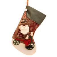 noel weihnachtsverzierung großhandel-Weihnachtsschmuck Neujahr Geschenke Santa Schneemann Socken Weihnachten Socken Geschenk Meia de Natal Bas de Noel Ornamente Q3