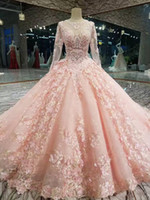 Wholesale light power designer online - Luxury Pink New Designer Ball Gown Prom Dresses Long Sleeves Lace Appliqued Beads Dress Evening Wear Plus Size Custom Made Formal Gowns