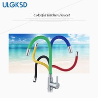 Wholesale black single handle kitchen faucet - ULGKSD Kitchen Sink Faucet Single Handle Universal Swivel Mixer Tap Deck Mounted Hot and Cold Mixer Faucets
